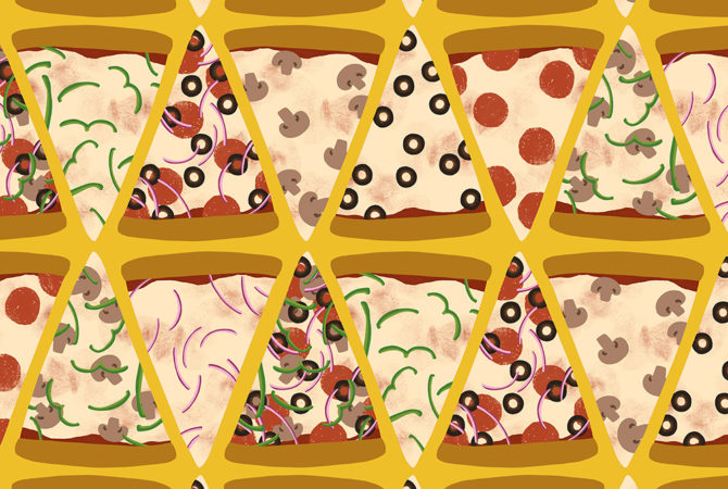 Pattern of Pizza, my favorite food.