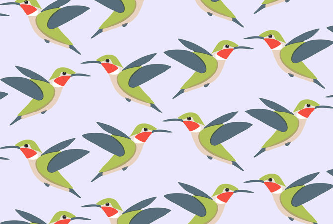 Stylized Hummingbird Pattern