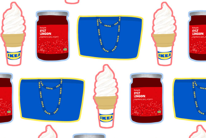 Pattern of IKEA ice cream, lingonberry sauce, and iconic blue bag.