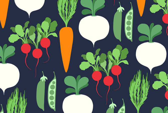 Illustrated pattern of carrots, turnips, radishes, and peas.